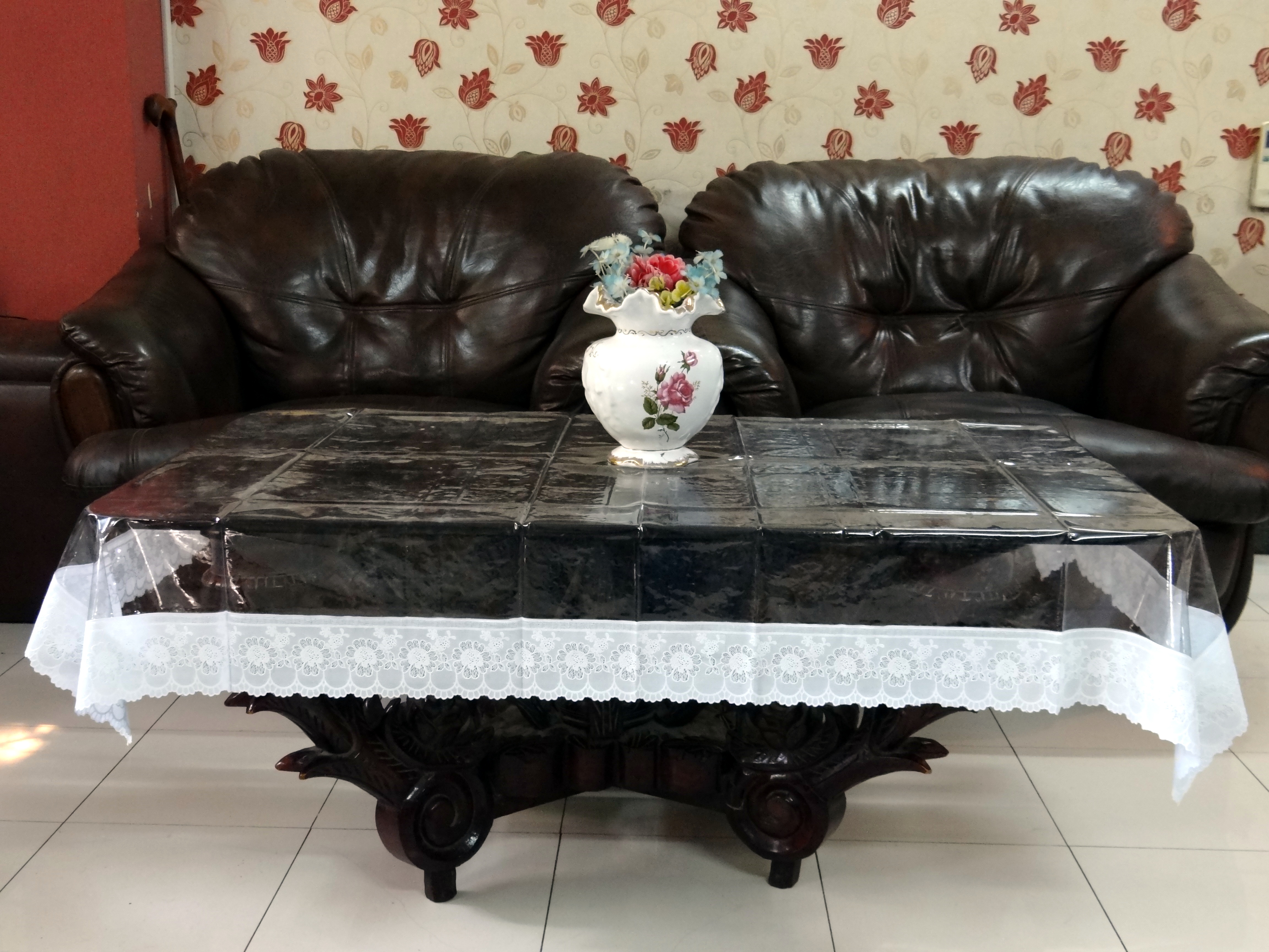 Picture of: 36 X 54 Clear Transparent With Lace Center Table Cover