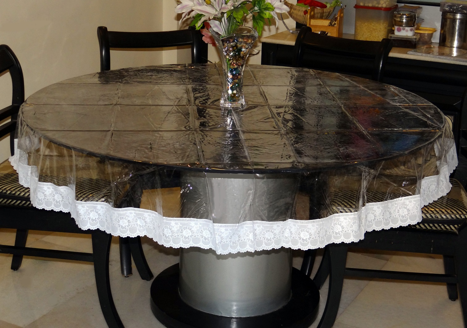 70 round clear transparent with lace border table cover