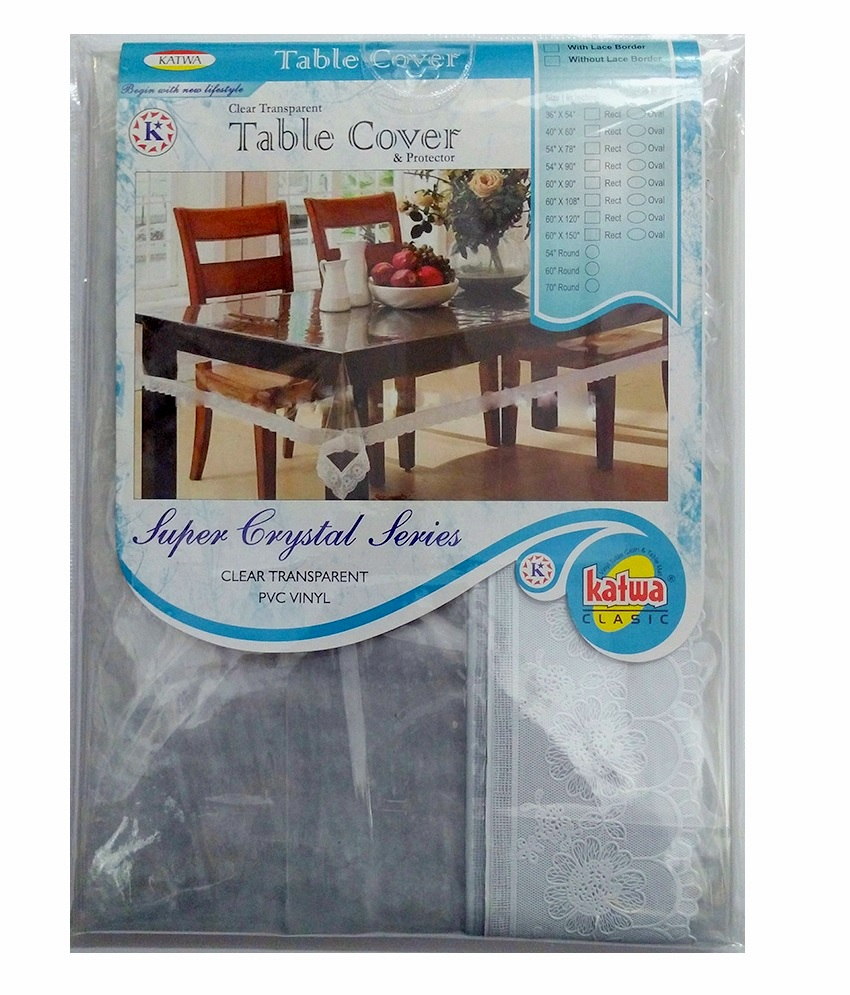 Clear dining table cover - 60 X 108 Rectangle Clear Transparent With Lace Border Dining Table Cover