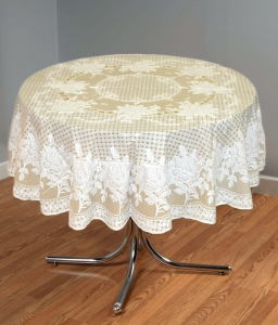 "54"" (Diameter) Rose Lace Vinyl Round Tablecloth (Beige)"