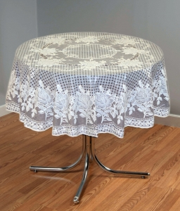 "54"" (Diameter) Rose Lace Vinyl Round Tablecloth (Brown)"