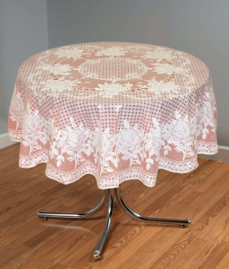 "54"" (Diameter) Rose Lace Vinyl Round Tablecloth (Copper)"