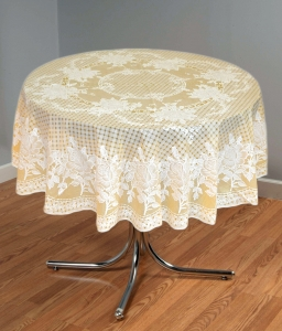 "54"" (Diameter) Rose Lace Vinyl Round Tablecloth (Gold)"