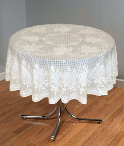 "54"" (Diameter) Rose Lace Vinyl Round Tablecloth (Lemon)"