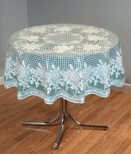 "54"" (Diameter) Rose Lace Vinyl Round Tablecloth (Dark Green)"