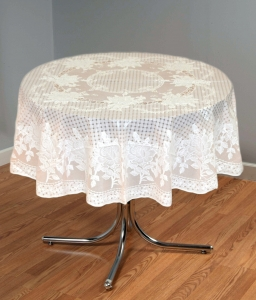 "54"" (Diameter) Rose Lace Vinyl Round Tablecloth (Peach)"