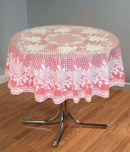 "54"" (Diameter) Rose Lace Vinyl Round Tablecloth (Red)"