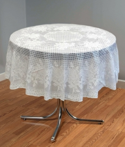 "54"" (Diameter) Rose Lace Vinyl Round Tablecloth (White)"