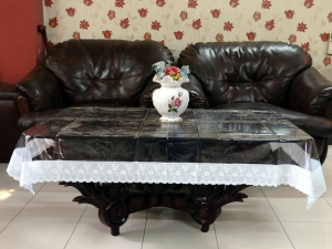 "36"" x 54"" Clear Transparent With Lace Center Table Cover"