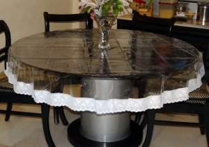 "70"" (Diameter) Clear Transparent with Lace Border Round Table Cover"
