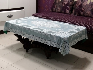 "36"" x 54"" Fancy Lace Vinyl Tablecloth (Dark Green)"